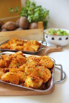 Ziemniaki pieczone w chrupiącej panierce – Via Gusto Side Dish Recipes, Snack Recipes, Cooking Recipes, Good Food, Yummy Food, Frugal Meals, Food Allergies, Food To Make, Food Porn