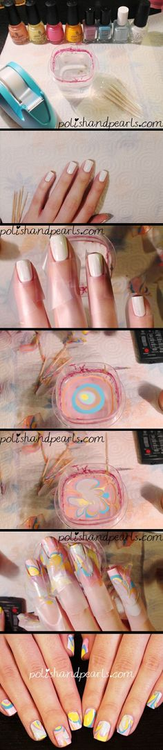 how+to+water+marble+nail+-+really+easy+to+follow+instruction+video - Click image to find more Hair & Beauty Pinterest pins