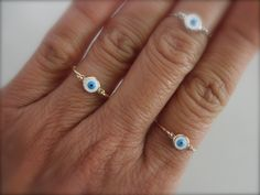 Evil eye ring sterling silver goldfilled and rose by 19bis on Etsy, $19.00
