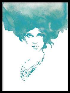 Poster med en kvinna i akvarell. Snygg print i turkost och vitt. Planscher och affischer med målningar. Fin att sätta i tavelvägg tillsammans med andra tavlor i turkosa toner.