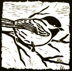 Bird Linoleum Block Print Painting at ArtistRising.com