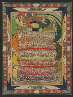 Adolf Wö̈lfli (born February 29, 1864, Bowil, Switzerland, died November 6, 1930, Bern, Switzerland)/ UNTITLED (Saint Adolph bitten in the leg by the snake),1921, The Waldau Clinic, Bern, Switzerland, colored pencil and pencil on paper, 26 3/4 x 20 1/8 in., Collection de l'Art Brut, Lausanne, Switzerland, cab-A130. Photo credits: © Collection de l'Art Brut, Lausanne. Photo by Marie Humair, Atelier de numérisation—Ville de Lausanne