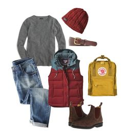 """""""Fall hiking and outdoors outfit"""" by cleanclassicandchic ❤ liked on Polyvore featuring J.Crew, Wrap, Patagonia, Blundstone and Fjällräven"""