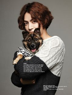 Hong Jong Hyun and puppy