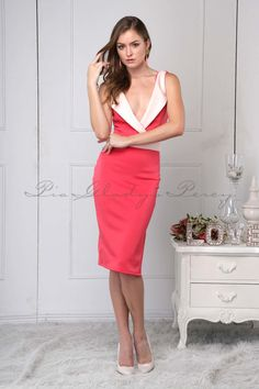 Barbara in by Fitted Skirt, Black Cocktail Dress, Spring Summer 2015, Coral, Skirts, How To Wear, Collection, Dresses, Fashion