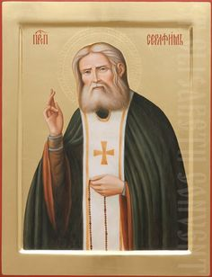 This icon of St Seraphim of Sarov can be painted using acrylic or tempera paints in several sizes, starting with cm. The final price of a painted icon depends on its size and decorations Paint Icon, Orthodox Icons, Tempera, Ikon, Saints, Painting, Painting Art, Paintings, Painted Canvas
