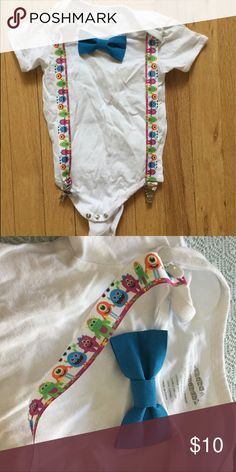 Boys bow tie monster suspender bodysuit onesie 24m Worn once. 100% cotton. No stains. Suspenders and bow tie snap off. One Pieces Bodysuits