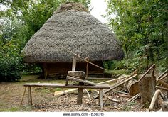 Stock photo of a thatched cottage and woodworking area in a Gaul village - Stock Image