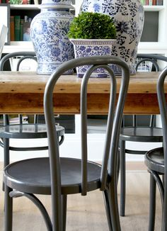 My Latest Thrifting Finds - Emily A. Clark  -  blue & white decorate the farmhouse table in dining room/office