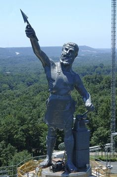 The world's largest cast iron statue, Vulcan, towers over the city from its perch on Red Mountain Vulcan Park and Museum in Birmingham, Alabama