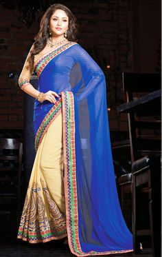 Show details for Good Looking Blue and Biscuit Cream Color Saree