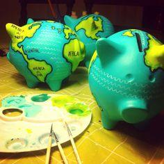 Mis pequeños mundos, my little worlds. #piggybank #art #danielaumbert #travel #world     by Daniela Umbert