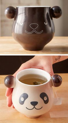 Panda Mug - pour in hot liquid and sleeping panda wakes up