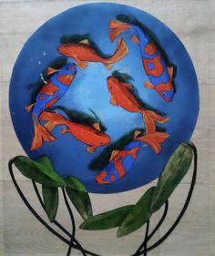 Coy fish with waterblommetjie leaves. Reverse painting on perspex. Acrylic paint
