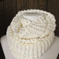 Completed white handknit infinity scarf thick, warm and so comfortable