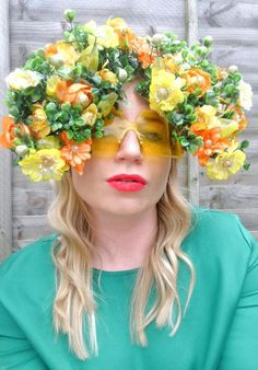 Meadow Mary: Retro frames customised with fake flowers and vintage costume jewellery. Vintage Costume Jewelry, Vintage Costumes, Fake Flowers, Headpiece, Crowd, Frames, Photograph, Mary, Jewellery