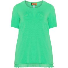 Aprico Green Plus Size Mesh hem top ($48) ❤ liked on Polyvore featuring tops, green, plus size, green top, long short sleeve tops, plus size tops, short sleeve tops and long mesh top
