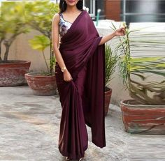 Buy Wine Satin Saree Online in India Saree Draping Styles, Saree Styles, Sari Dress, The Dress, Indian Dresses, Indian Outfits, Saris, Indische Sarees, Style Marocain