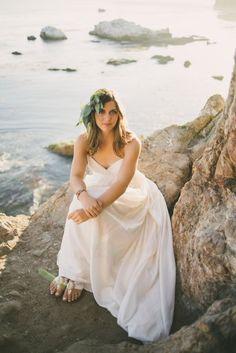 Beach bride with fair trade sandals from Sseko Designs