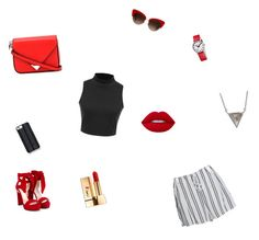 """Red ad black"" by annaleamassey on Polyvore featuring WithChic, Dolce&Gabbana, Mondaine, Jimmy Choo, Savannah Hayes, Lime Crime, Yves Saint Laurent, ADORNIA and Alexander Wang"