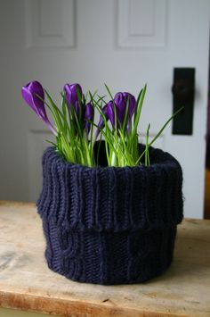 Hat planter pretty in purple gives me idea to use old sweaters