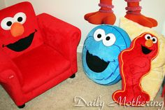 Sesame Street Chair and Pillows. Elmo and Cookie Monster!