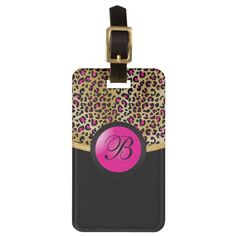 Gold and Hot Pink Leopard Animal Print Monogram Luggage Tag Monogrammed Luggage Tags, Custom Luggage Tags, Pink Leopard Print, Leopard Animal, Standard Business Card Size, Leather Luggage, Classy Chic, Pink And Gold, Print Patterns
