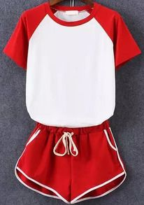 Color-block Short Sleeve Top With Elastic Waist Red Shorts