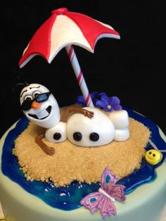 "(Disney's ""Frozen"":  Olaf in the Summer Cake! - Beach umbrella made from gumpaste and left to dry for 4 days in a dish.  Wilton lollipop stick was attached with a drop of candy melts.   ""Ocean"" made from tinted piping gel.)  Nice!"