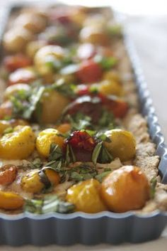 Gluten/Grain Free tart with Roasted Tomatoes, Brie and Basil