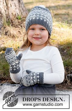 Knitting For Kids, Baby Knitting Patterns, Free Knitting, Drops Design, Knit Mittens, Knitted Hats, Magazine Drops, Baby Barn, Knit Crochet