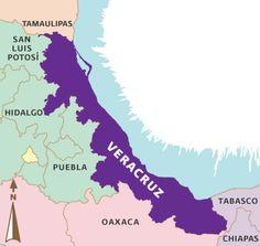 """Se encuentra ubicado entre la Sierra Madre Oriental y el Golfo de México, en las coordenadas 17° 03' 18"""" y los 22° 27' 18"""" de latitud norte y los 93° 36' 13"""" y los 98° 36' 00"""" de longitud oeste. Limita al norte con el Estado de Tamaulipas, al este con el Golfo de México, al sureste con los Estados de Tabasco y Chiapas, al sur y suroeste con el Estado de Oaxaca, al oeste con el Estado de Puebla, al noroeste con los Estados de San Luis Potosí e Hidalgo."""