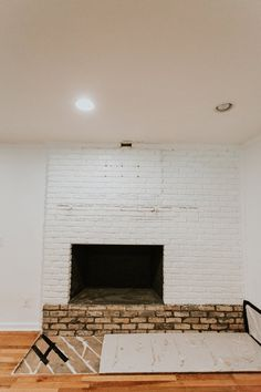 REMOVING OUR FIREPLACE'S BRICK HEARTH Brick Hearth, Fireplace Inserts, Minimal Home, Farmhouse Design, Old Bricks, Fireplace, Brick Fireplace, Front Stairs, Exterior Brick