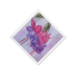 PINK AND PURPLE FUSCHIA FLOWER PAPER NAPKINS