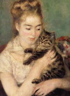 This ready to hang, gallery-wrapped art piece features a woman holding a striped cat. Pierre-Auguste Renoir (1841-1919) was a French artist who was a leading painter in the development of the Impressi