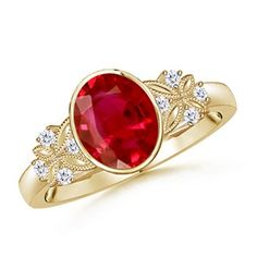 Enjoy the timeless vintage glory with our Alyssa Ring from the Vintage Collection. With a bezel secured oval ruby and intricate detailing, this vintage inspired #RubyRing is an exceptional choice for an engagement or wedding.