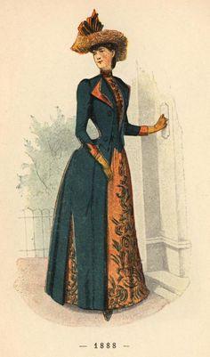 Victorian fashion plate. A Siecle De Modes Feminines 1888. 2nd bustle period.