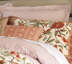 Layering the bed    Vintage Ticking Stripe Duvet Cover & Sham - Red #potterybarn