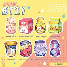 """sabab🌱 on """"Quench your thirst with these boiz this summer! Cute Food Drawings, Cute Kawaii Drawings, Bts Drawings, Kawaii Art, Vintage Wallpaper, Kawaii Wallpaper, Bts Wallpaper, Food Wallpaper, Arte Copic"""