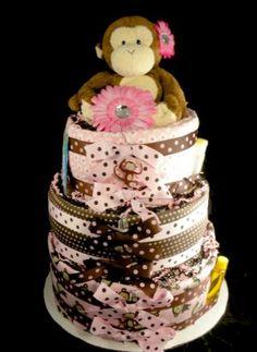 3 tier Carters Jungle Jill Monkey Diaper Cake Baby Shower Gift Blankets Pink Brown