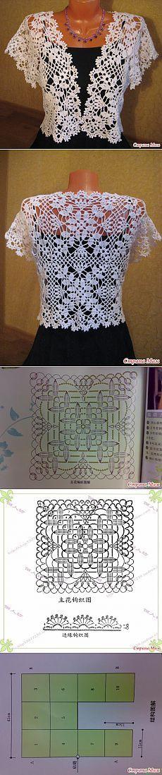 Crochet Skirt And Pattern - Best Knitting Gilet Crochet, Crochet Vest Pattern, Crochet Motifs, Crochet Jacket, Crochet Chart, Crochet Cardigan, Crochet Patterns, Bolero Crochet, Lace Bolero