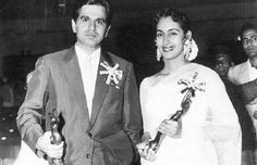 Dilip Kumar and Nutan with their 1954 Filmfare Awards.