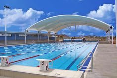 Barrel vault structure, clear span, council pool, shade option