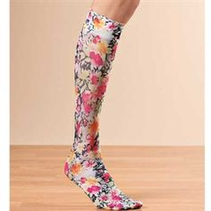 Floral compression stockings, they come in leopard too!