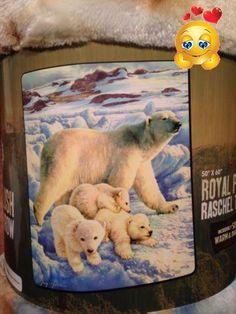 #manythings #Royal Plush Raschel Throw Blanket Polar Bear Family 50 in X 60 in
