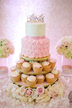 Gorgeous pink and gold wedding cake/cupcake tower