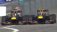 Webber and Vettel tussle at the Malaysian GP