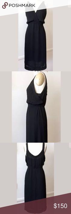 IRO Layered Black Dress Beautiful silk dress with layered slip. Very minimalistic. Size 3- but fits 6-8 IRO Dresses Midi