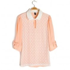 Classical Lace 3/4 Long Sleeve Hollow Out T-shirt