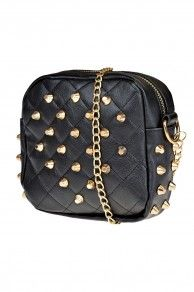 HAND BAG QUILTED W/STUDS